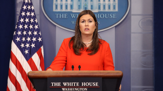 Sarah Sanders loudly addressed Trump's silence on domestic abuse victims at today's press briefing.