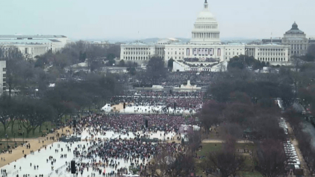 White House says Trump's inauguration crowd was the biggest in history. It wasn't.