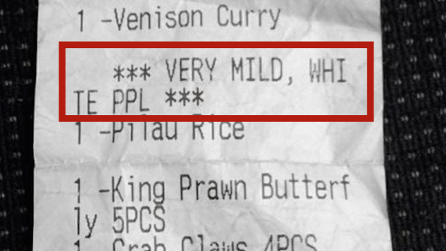 White man burns with indignation after restaurant receipt suggests white people can't eat spicy food.