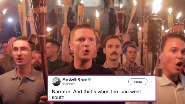 White supremacists hold a tiki torch-lit rally, get mercilessly roasted by Twitter.