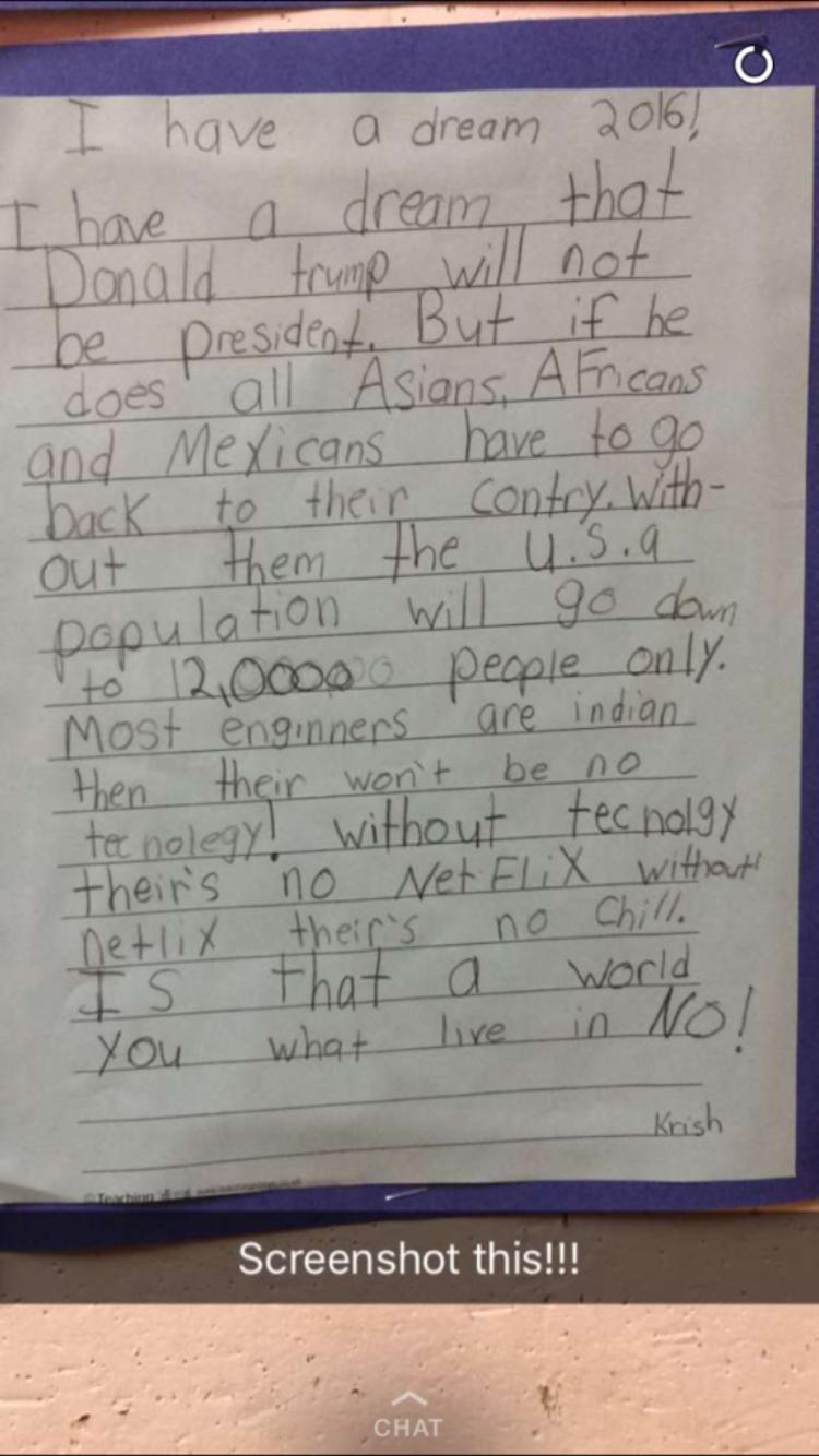 kid writes mlk day essay opposing donald trump s policies kid writes mlk day essay opposing donald trump s policies supporting netflix and chill kids