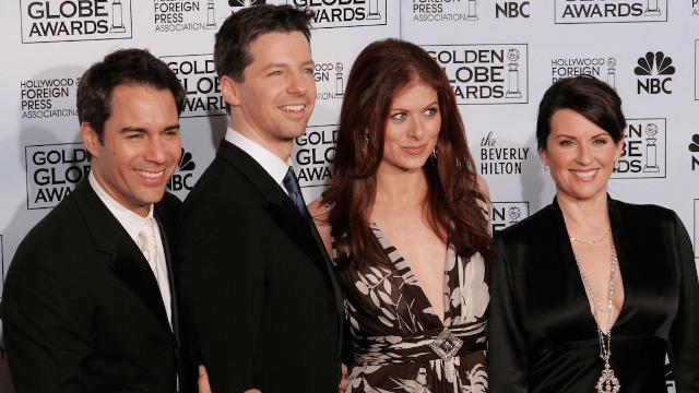 The cast of 'Will and Grace' is mysteriously filming something together. Everyone remain calm.