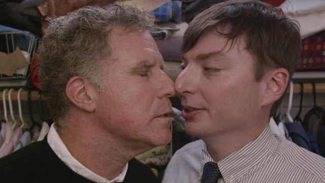 Will Ferrell and Mike O'Brien share an improbably cringeworthy kiss in '7 Minutes in Heaven.'
