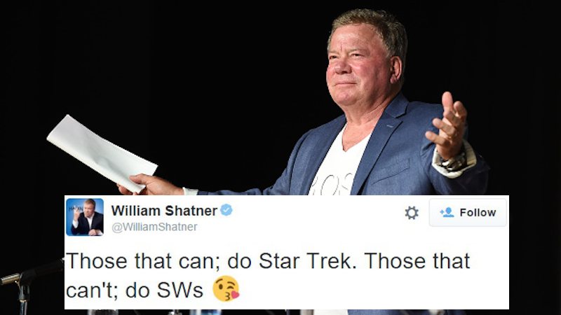 'Star Trek' king William Shatner hates 'Star Wars' and he tweeted about it like a fool.
