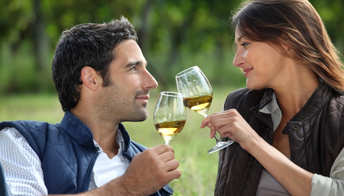 Drinking wine outdoors is a great way to save on rent.