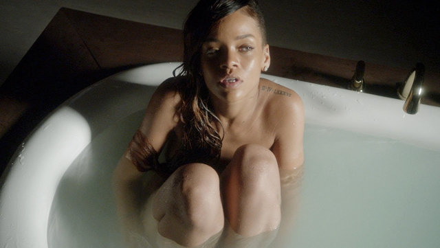 Without music, Rihanna's 'Stay' video is just a weird lady farting in a bathtub.