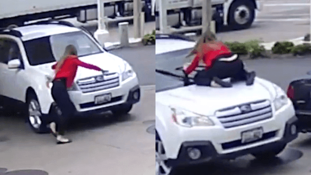 This woman stopping a car hijacker is either heroic or insane depending on your perspective.