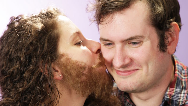 Women wore fake facial hair to show their boyfriends what kissing someone with a beard feels like.
