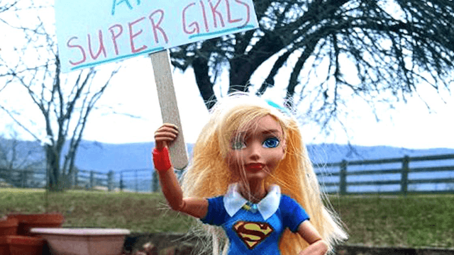 This little girl had a Women's March with her dolls when she couldn't make it to D.C.