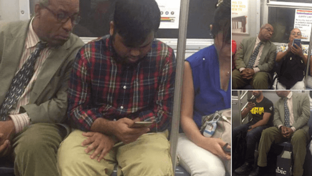 World's nosiest subway rider can't stop looking at literally everyone else's phone.