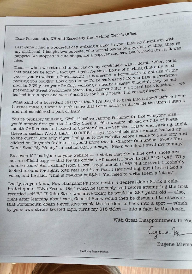 Comedian takes out full-page ad for open letter to town that gave him an absurd parking ticket.