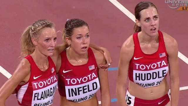 Yet another runner loses their medal by celebrating before crossing the line. Chill, runners.