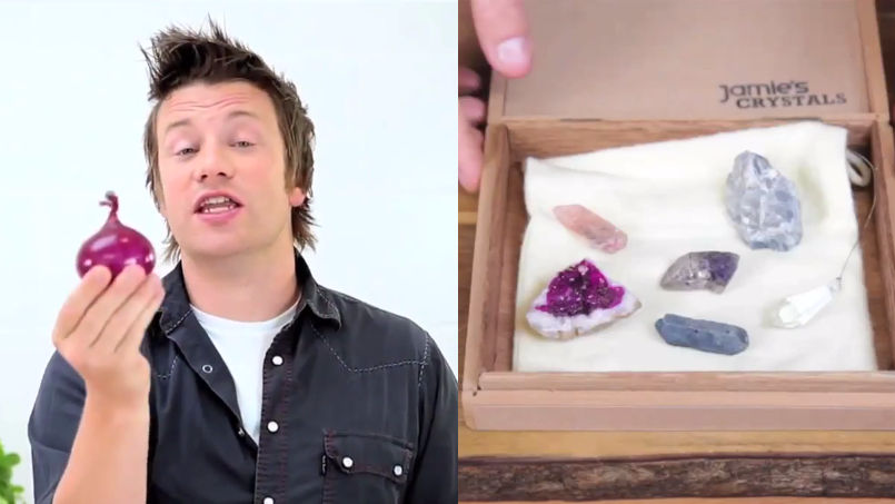You need to watch this recut video where Jamie Oliver chops an onion with crystals.