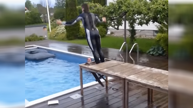 You should never, ever, ever jump into a pool like this.