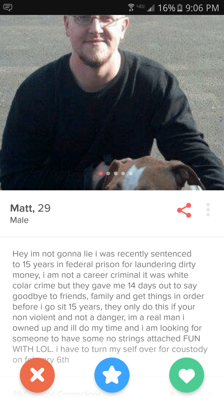 This dude's level of Tinder honesty is so off-the-charts it could actually get him a date.