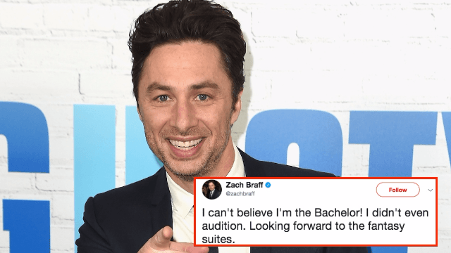 Zach Braff is pretty sure the new 'Bachelor' is his long-lost twin.