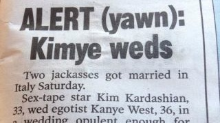 The NY Post gave Kim and Kanye's wedding the kind of writeup a whole nation can get behind.