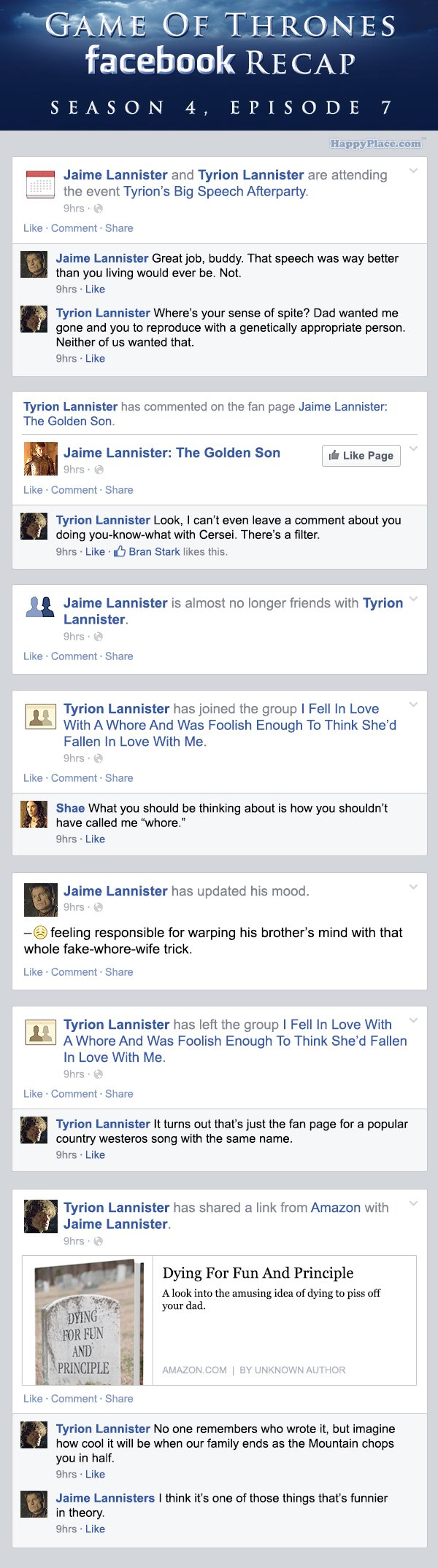 If Game of Thrones took place entirely on Facebook - Season 4, Episode 7