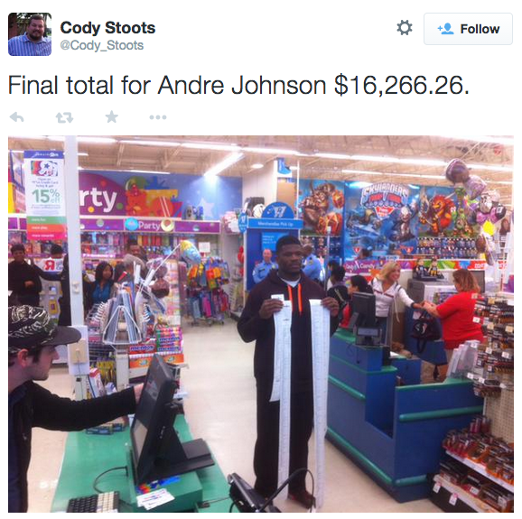 nfl player andre johnson is officially the mvp of christmas buys underprivileged kids 16k worth of toys - Nfl On Christmas 2014