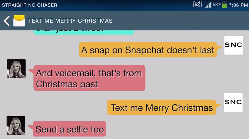 """And so it begins: Kristen Bell's """"Text Me Merry Christmas"""" is the holiday earworm of 2014."""