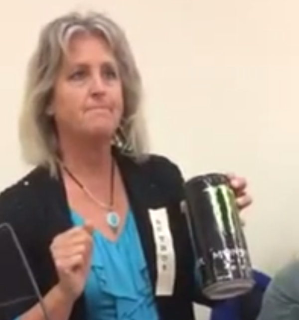 According to this woman, Monster Energy Drinks are the work of Satan.