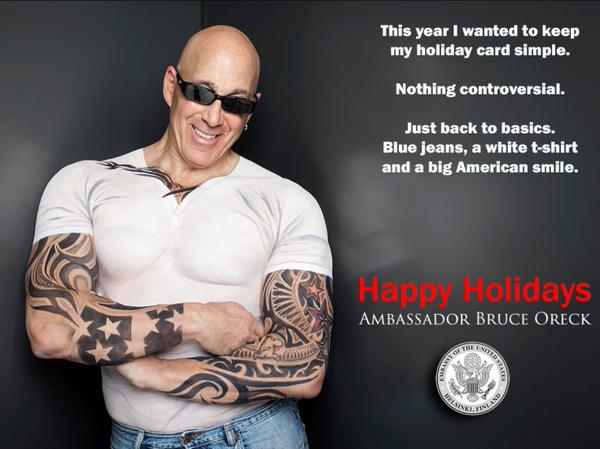 This is our ambassador to Finland, and he has the best Christmas cards on Earth.