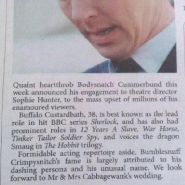 This newspaper gave Benedict Cumberbatch the wedding congratulations he truly deserved.