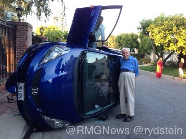 Adorable elderly couple has adorable car accident.