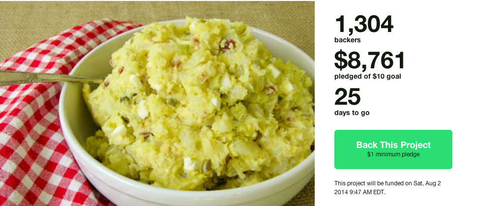 Man raises thousands for bowl of potato salad on Kickstarter.