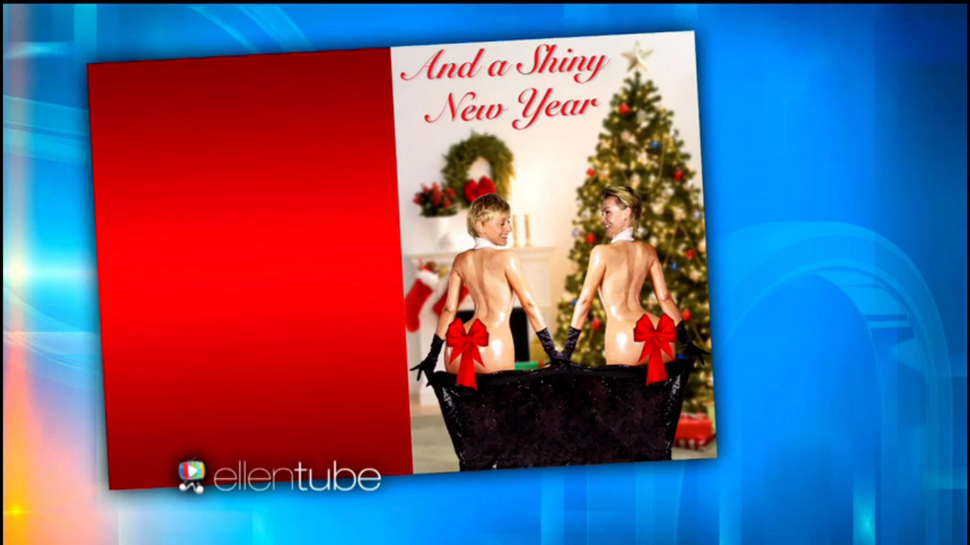 Ellen DeGeneres and Portia De Rossi are a cuter, more Christmassy version of Kim Kardashian's Paper cover for their holiday cards.