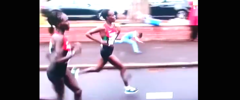 Little kid faceplants in front of a billion people while trying to keep up with marathon runners.