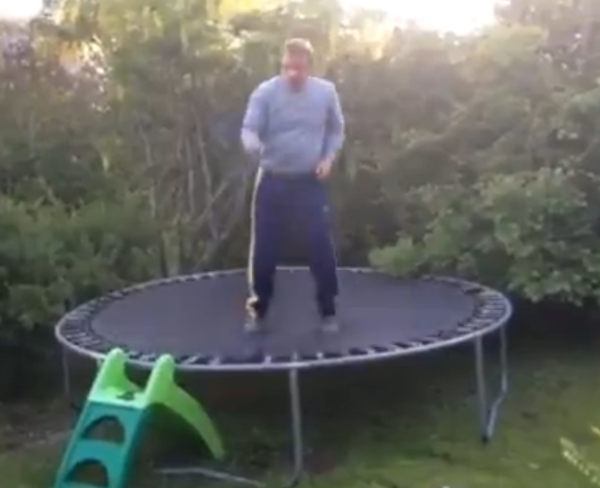 Dad hops on trampoline after a few drinks and you can probably imagine how it went.