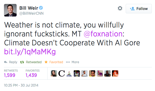 CNN anchor perfectly sums up Fox News' approach to climate change in an NSFW tweet.