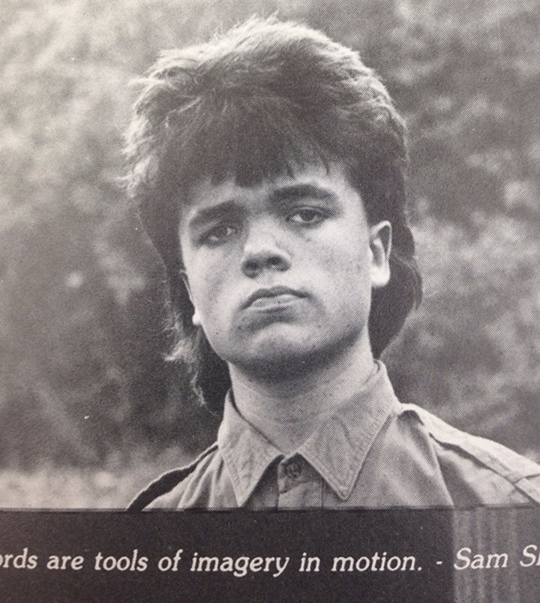 Here's Peter Dinklage with a mullet back in high school.