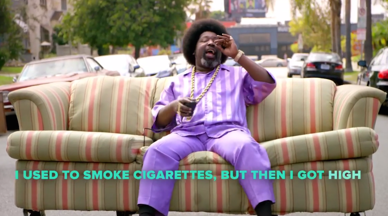 "Afroman remakes ""Because I Got High"" to emphasize weed's positive aspects."