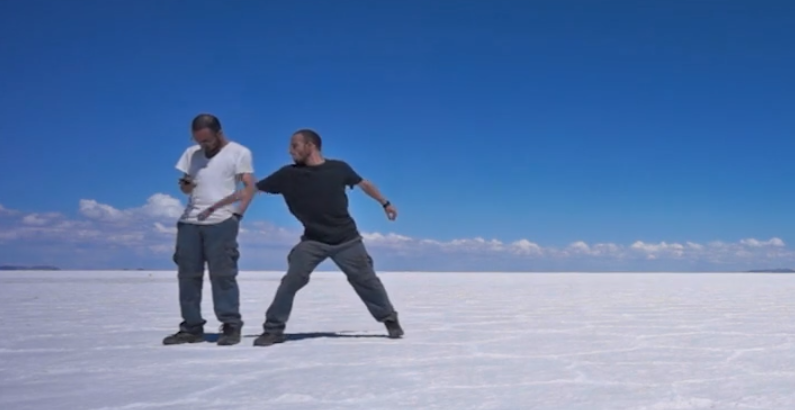 A videographer used special effects to turn his trip across South America into a vicious game of tag with himself.