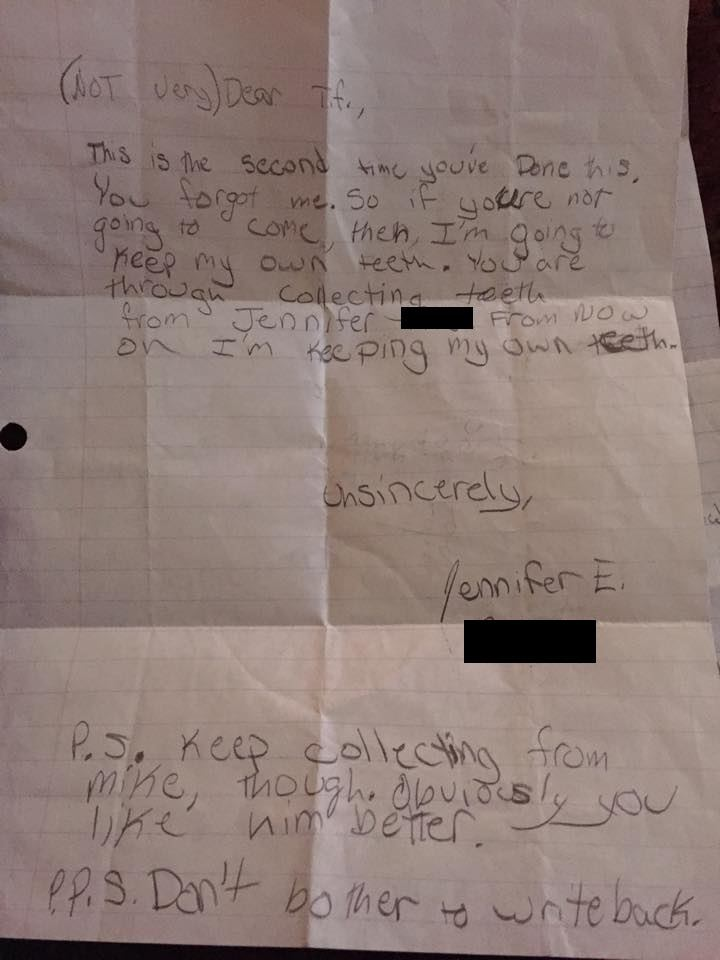 Woman finds a very angry note she wrote to the tooth fairy when she was a child.