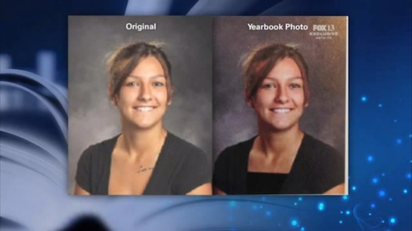 A high school photoshopped the yearbook photos of some female students to make them more modest.