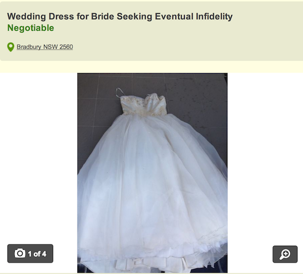 A guy is selling his cheating wife's wedding dress online after finding out she slept with his best friend.