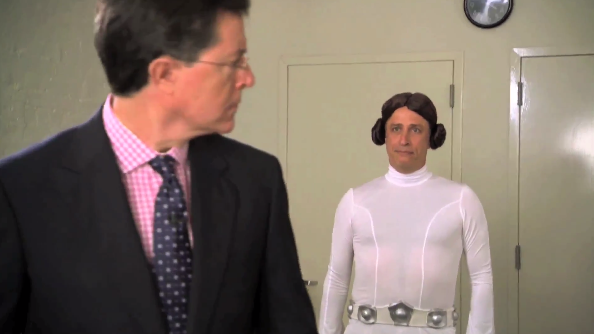 Jon Stewart and Stephen Colbert engage in an epic battle to determine who's the bigger Star Wars nerd.