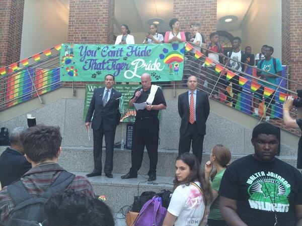 A high school principal used his school's Pride Day to come out as gay.