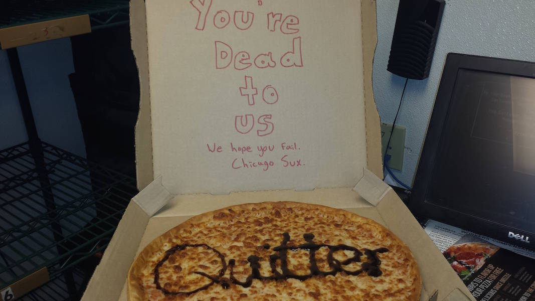 This is how Pizza Hut wishes their employees luck on their last day on the job.