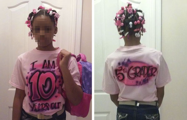 """A dad forced his 10-year-old daughter to wear """"age-defining"""" clothes as punishment for flirting online."""