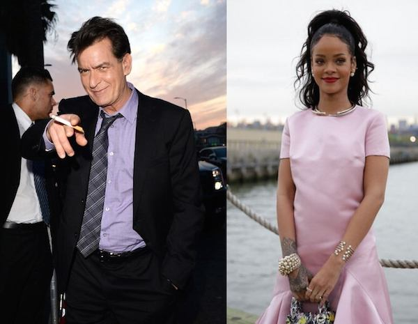 Charlie Sheen and Rihanna went at it on Twitter after she blew him off at an LA restaurant.