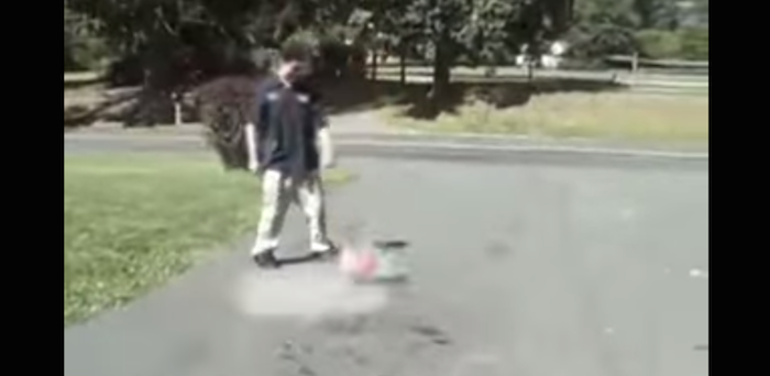 Kid accidentally makes public service video about why you shouldn't over-inflate basketballs.