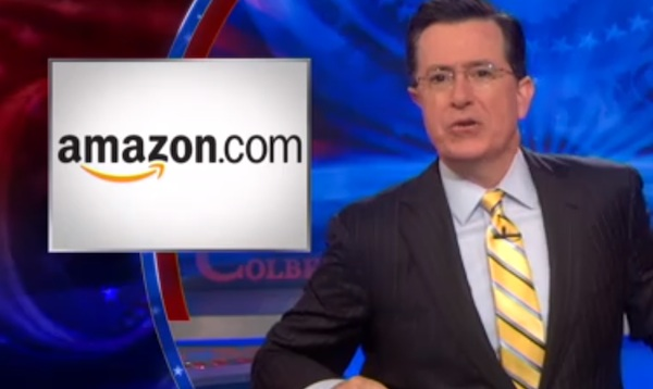 Stephen Colbert gives Amazon the finger for screwing up his book sales.