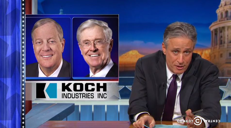 Jon Stewart welcomes the Koch Brothers as Daily Show sponsors by fixing their ad for them.