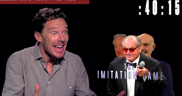 Benedict Cumberbatch does as many impressions as he can in 60 seconds.