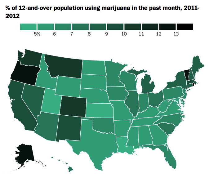 A map of how much pot every State is smoking.