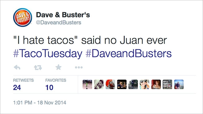 Dave & Buster's upset Twitter with a joke about Mexicans that's almost as lame as Dave & Buster's.